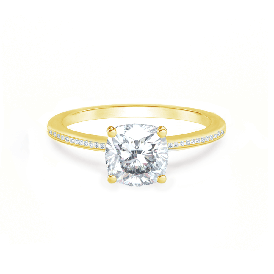IRIS - Cushion Moissanite 18k Yellow Gold Petite Channel Set Ring Engagement Ring Lily Arkwright