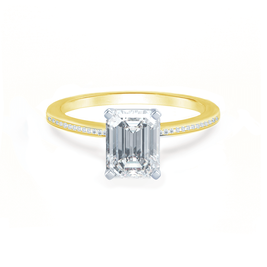 Lily Arkwright Engagement Ring IRIS - Emerald Charles & Colvard Moissanite Two Tone Platinum & 18k Yellow Gold Petite Channel Set