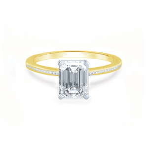 Iris Emerald Charles & Colvard Moissanite Two Tone Platinum & 18k Yellow Gold Petite Channel Set