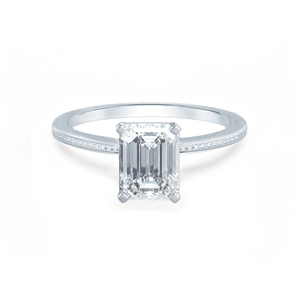 Lily Arkwright Engagement Ring IRIS - Emerald Charles & Colvard Moissanite Platinum Petite Channel Set