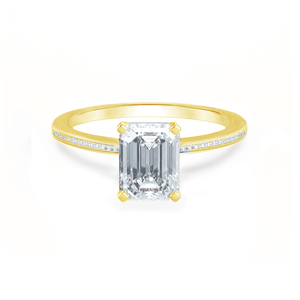 Lily Arkwright Engagement Ring IRIS - Emerald Charles & Colvard Moissanite 18k Yellow Gold Petite Channel Set