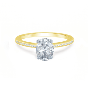 IRIS - Oval Moissanite Two Tone Platinum & 18k Yellow Gold Petite Channel Set Ring Engagement Ring Lily Arkwright
