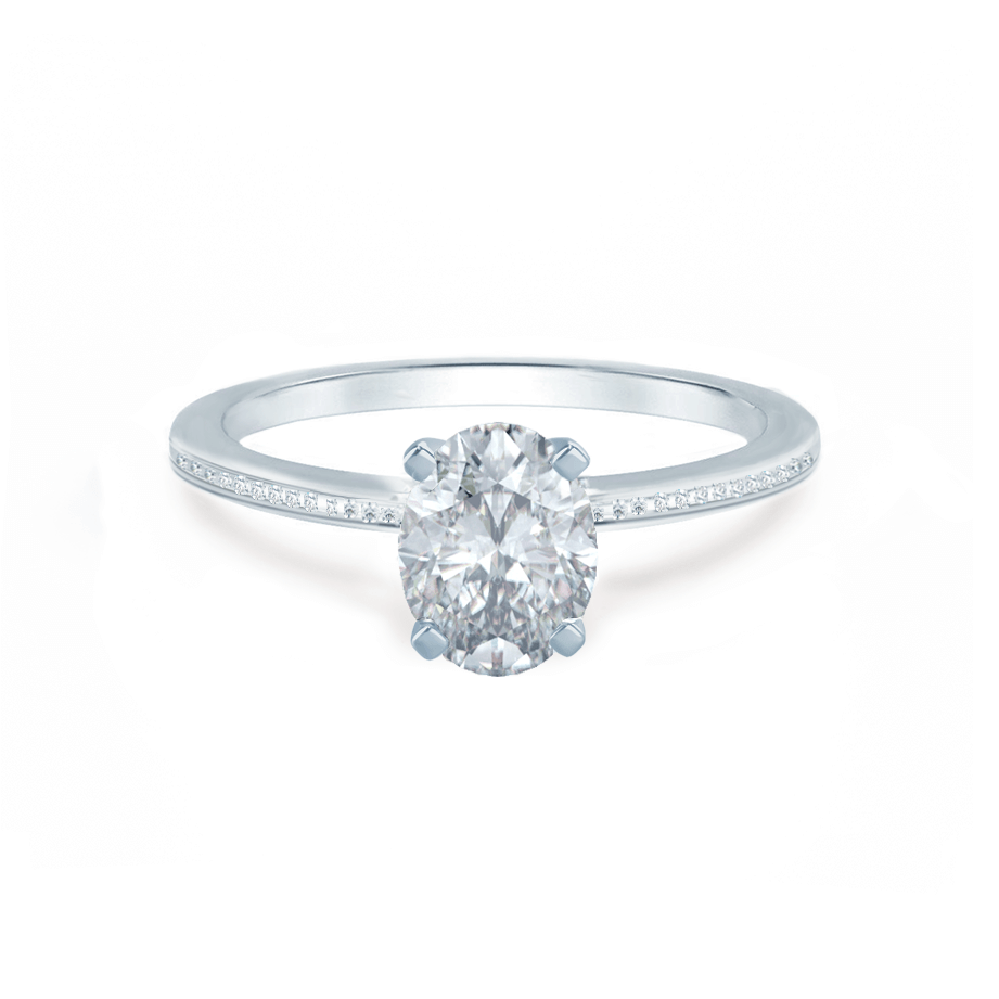 IRIS - Oval Moissanite 18k White Gold Petite Channel Set Ring Engagement Ring Lily Arkwright