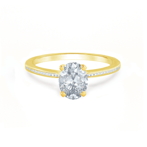 Lily Arkwright Engagement Ring IRIS - Oval Charles & Colvard Moissanite 18k Yellow Gold Petite Channel Set