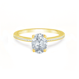 IRIS - Oval Charles & Colvard Moissanite 18k Yellow Gold Petite Channel Set