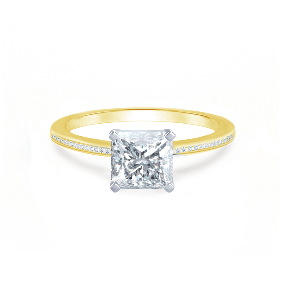 Iris Princess Charles & Colvard Moissanite Two Tone Platinum & 18k Yellow Gold Petite Channel Set