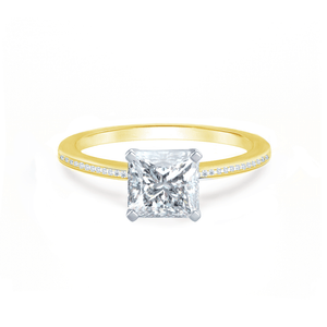 Lily Arkwright Engagement Ring IRIS - Princess Charles & Colvard Moissanite Two Tone Platinum & 18k Yellow Gold Petite Channel Set