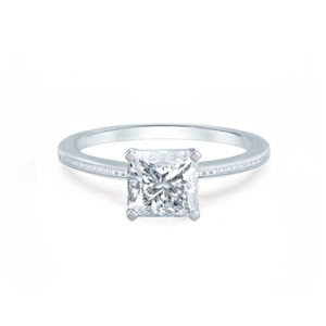 IRIS - Princess Moissanite 18k White Gold Petite Channel Set Ring Engagement Ring Lily Arkwright