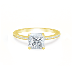 IRIS - Princess Charles & Colvard Moissanite 18k Yellow Gold Petite Channel Set