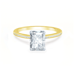 Iris Radiant Charles & Colvard Moissanite Two Tone Platinum & 18k Yellow Gold Petite Channel Set
