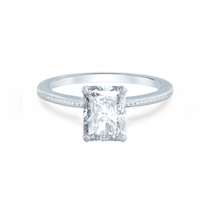 IRIS - Radiant Charles & Colvard Moissanite 18k White Gold Petite Channel Set