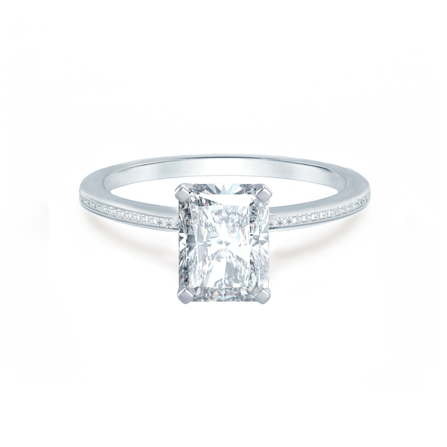 Lily Arkwright Engagement Ring IRIS - Radiant Charles & Colvard Moissanite Platinum Petite Channel Set
