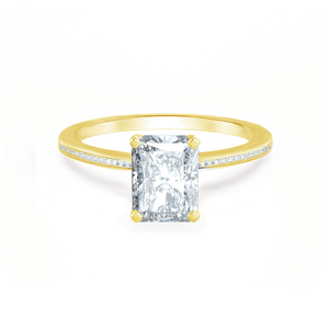 IRIS - Radiant Charles & Colvard Moissanite 18k Yellow Gold Petite Channel Set