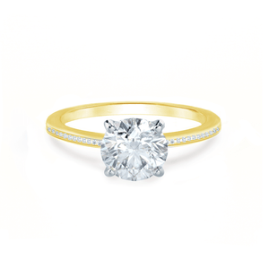 Iris Round Charles & Colvard Moissanite Two Tone Platinum & 18k Yellow Gold Petite Channel Set
