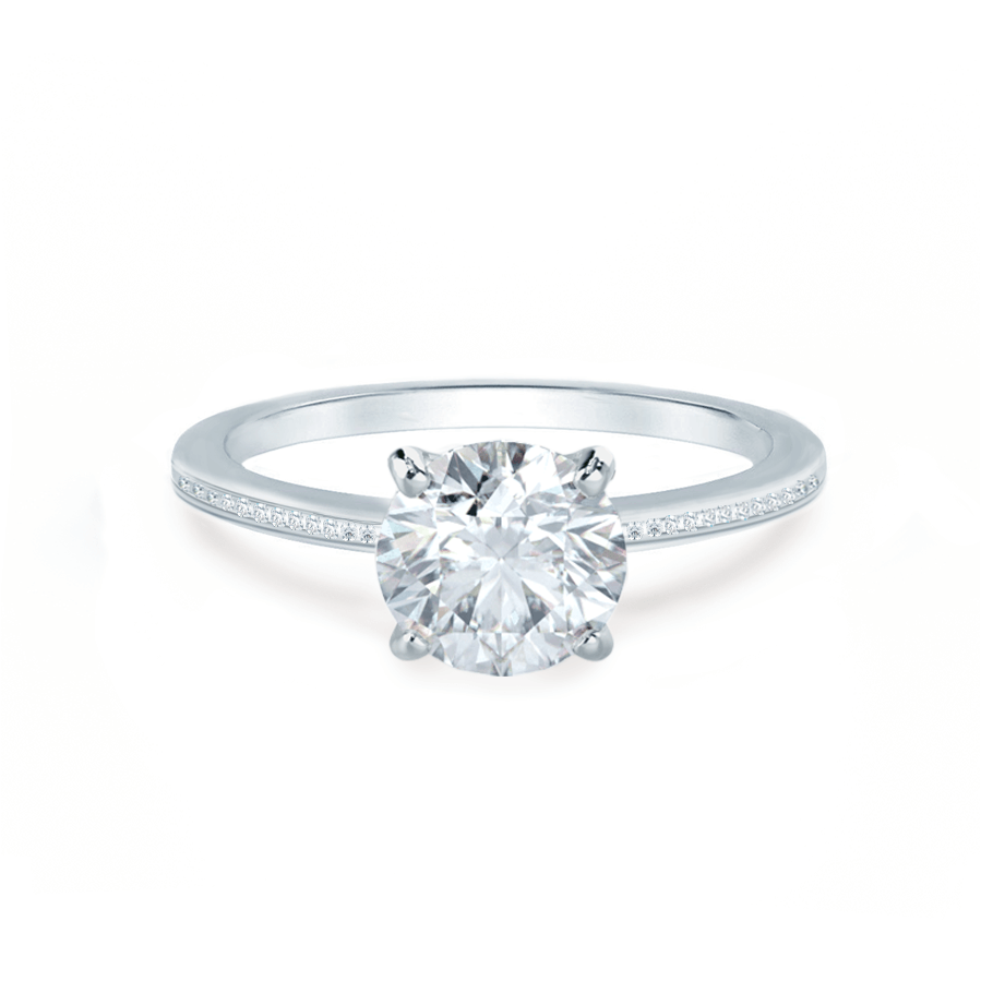 IRIS - Round Moissanite 950 Platinum Petite Channel Set Ring Engagement Ring Lily Arkwright