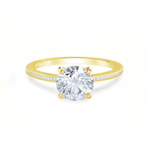 Lily Arkwright Engagement Ring IRIS - Round Charles & Colvard Moissanite 18k Yellow Gold Petite Channel Set