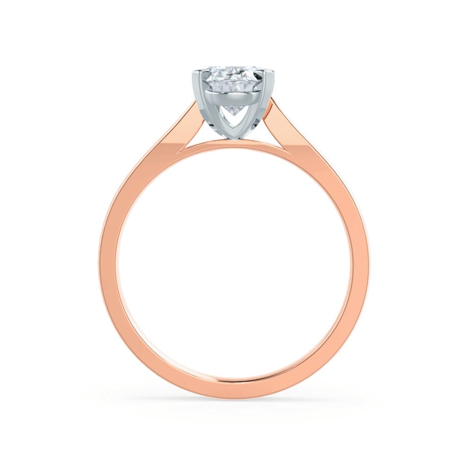 Lily Arkwright Engagement Ring ISABELLA - Charles & Colvard Moissanite 18k Two Tone Rose Gold Oval Solitaire Ring