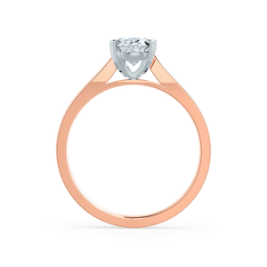 ISABELLA - Charles & Colvard Moissanite 18k Two Tone Rose Gold Oval Solitaire Ring