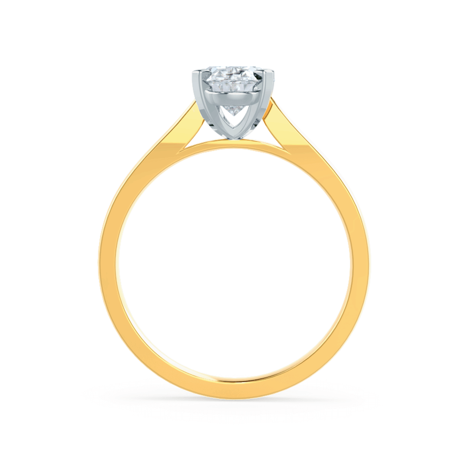ISABELLA - Charles & Colvard Moissanite 18k Two Tone Yellow Gold Oval Solitaire Ring