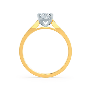 ISABELLA - Charles & Colvard Moissanite Two Tone 18k Yellow Gold & Platinum Oval Solitaire Ring
