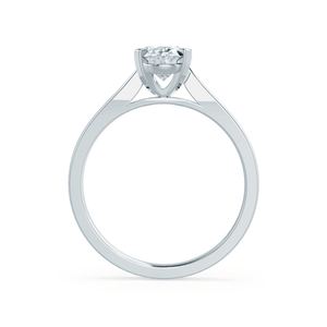Lily Arkwright Engagement Ring ISABELLA - Charles & Colvard Moissanite 18k White Gold Oval Solitaire Ring
