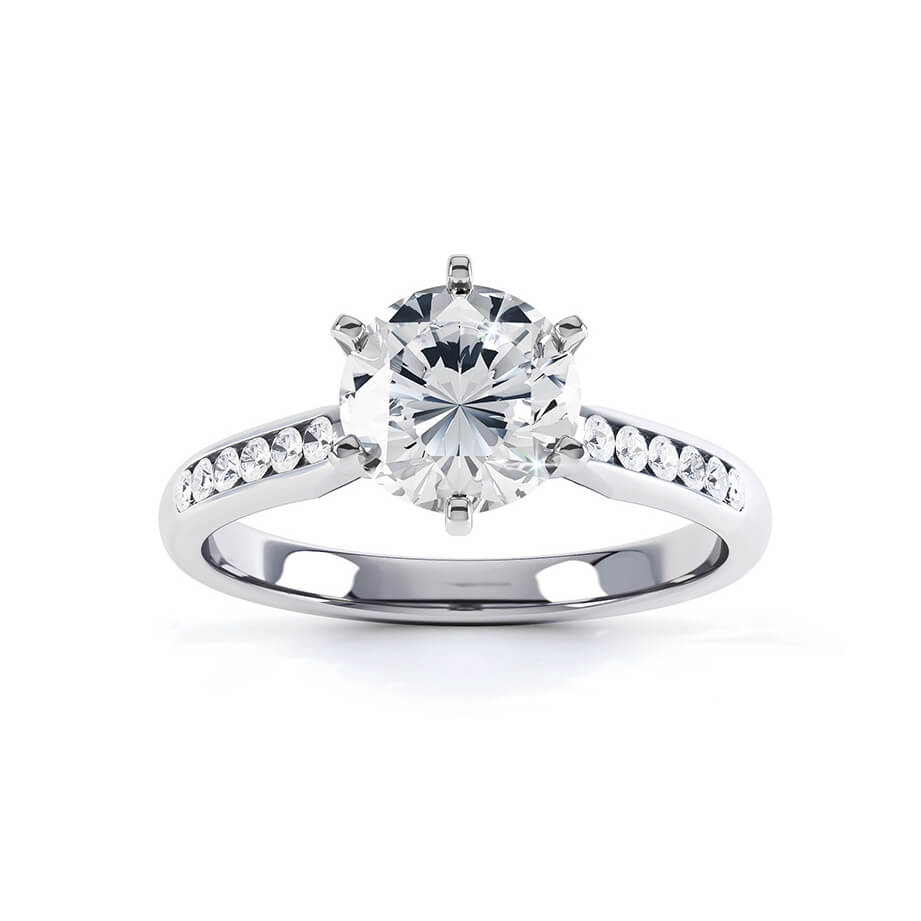 JASMINE - Moissanite 18K White Gold Channel Set Ring
