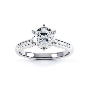 Jasmine Charles & Colvard Moissanite Platinum Channel Set Ring