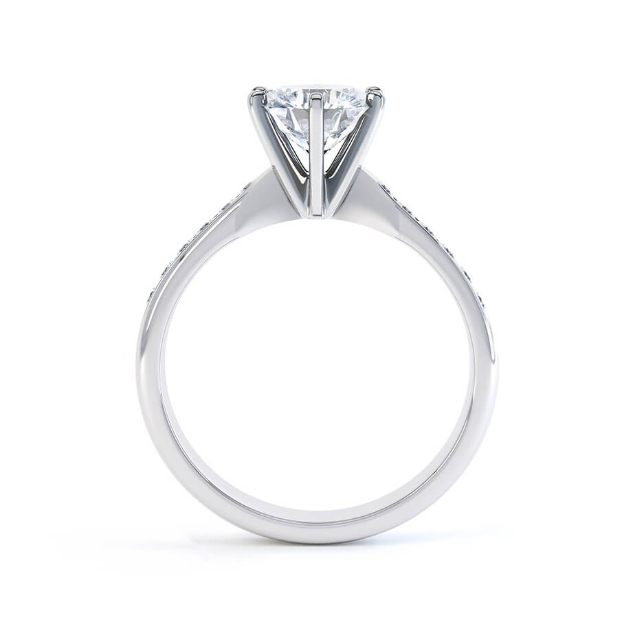 JASMINE - Round Moissanite 950 Platinum Channel Set Ring Engagement Ring Lily Arkwright
