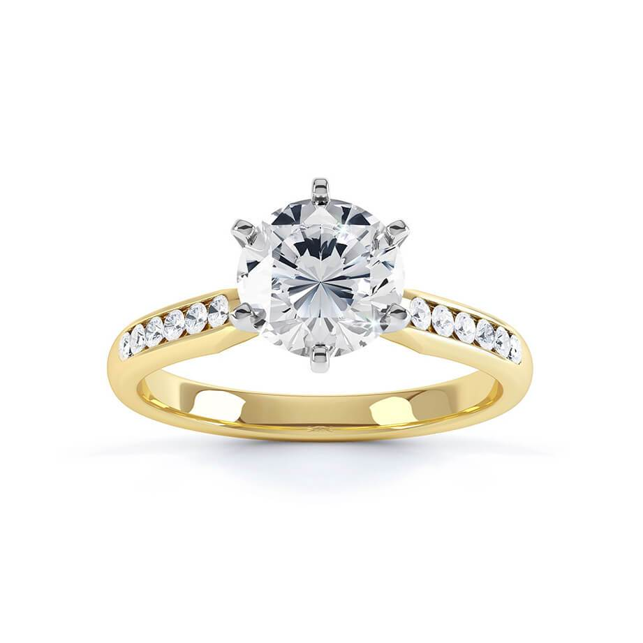 Jasmine Moissanite 18K Two Tone Yellow Gold Channel Set Ring