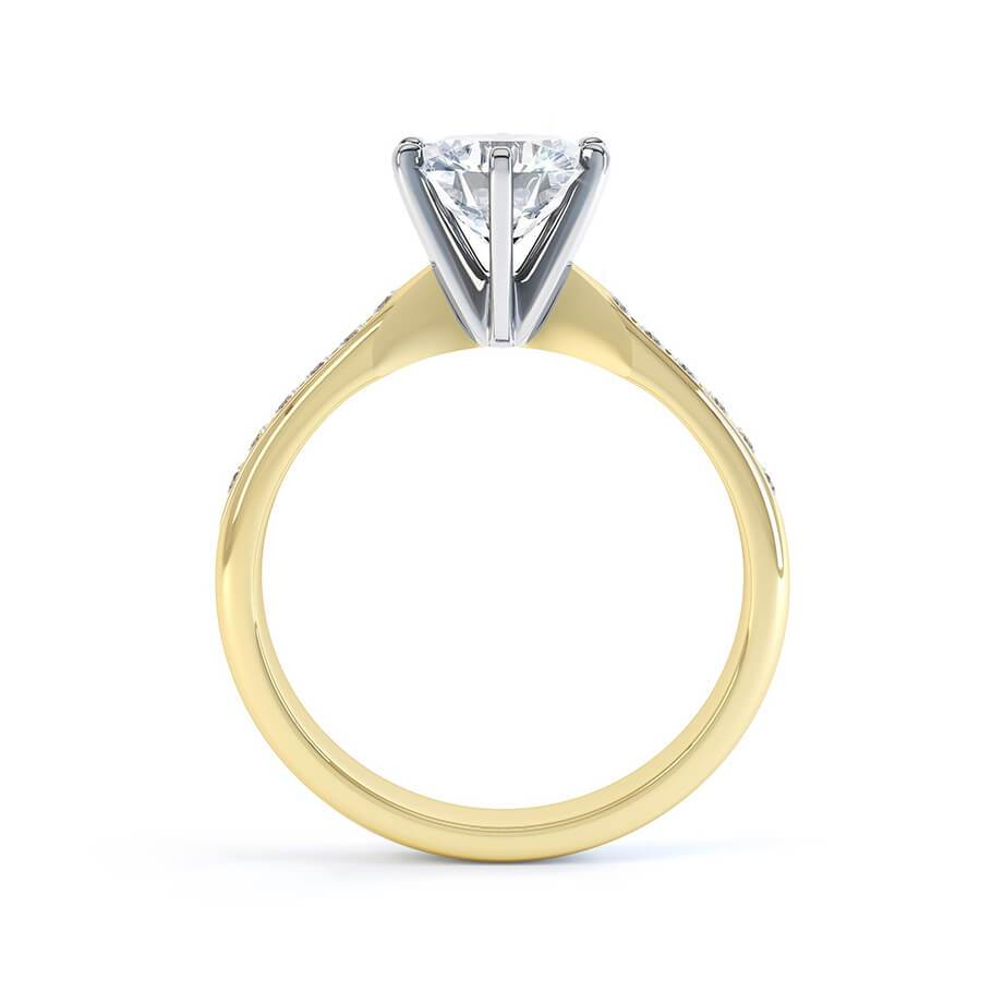 Lily Arkwright Engagement Ring JASMINE - Moissanite 18K Two Tone Yellow Gold Channel Set Ring
