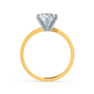 Juliet Moissanite 18K Two Tone Gold Solitaire Ring