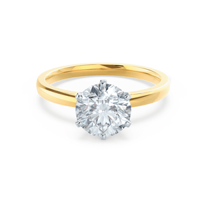 JULIET - Round Moissanite 18K Two Tone Gold Solitaire Ring Engagement Ring Lily Arkwright