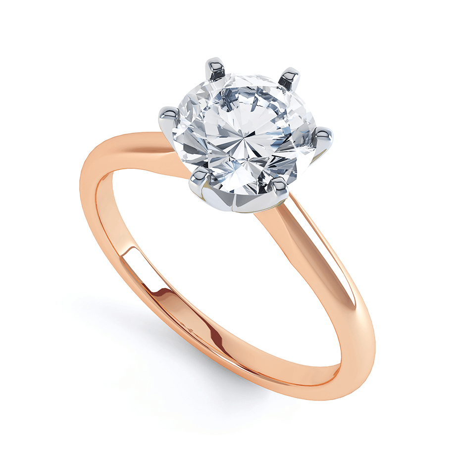 JULIETTA - Round Moissanite Two Tone 18k Rose Gold & Platinum Solitaire Ring Engagement Ring Lily Arkwright