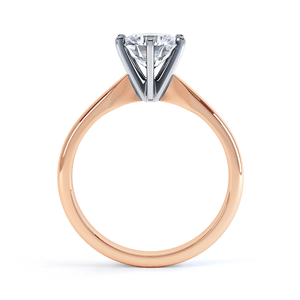 Lily Arkwright Engagement Ring JULIETTA - Moissanite 18k Two Tone Rose Gold Solitaire