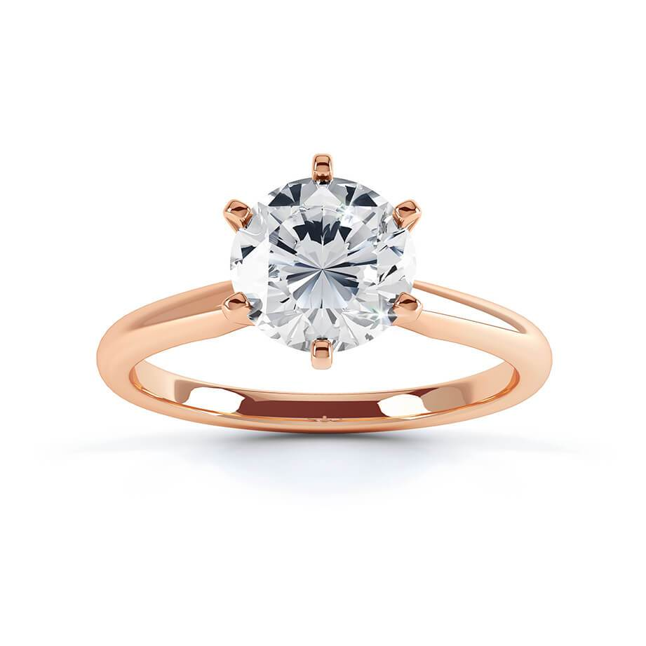 JULIETTA - Round Moissanite 18k Rose Gold Solitaire Ring Engagement Ring Lily Arkwright