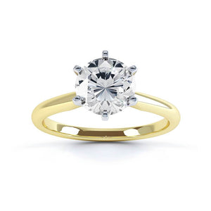 JULIETTA - Moissanite 18k Two Tone Yellow Gold Solitaire