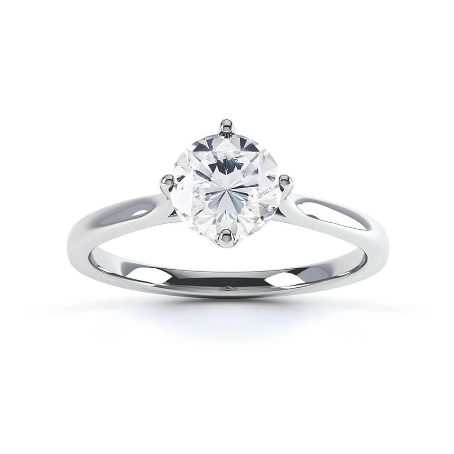 JUNIPER - Round Moissanite 950 Platinum Solitaire Ring Engagement Ring Lily Arkwright