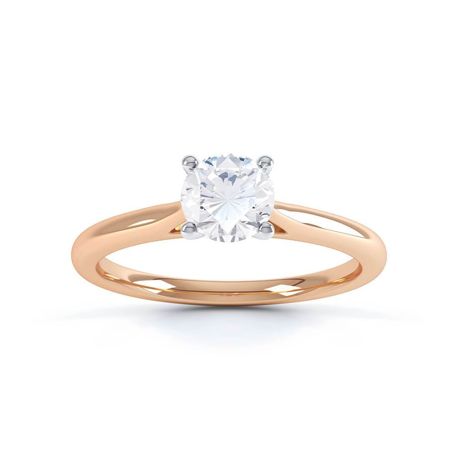 LAINARAE - Round Moissanite 18k Two Tone Rose Gold Solitaire Ring Engagement Ring Lily Arkwright