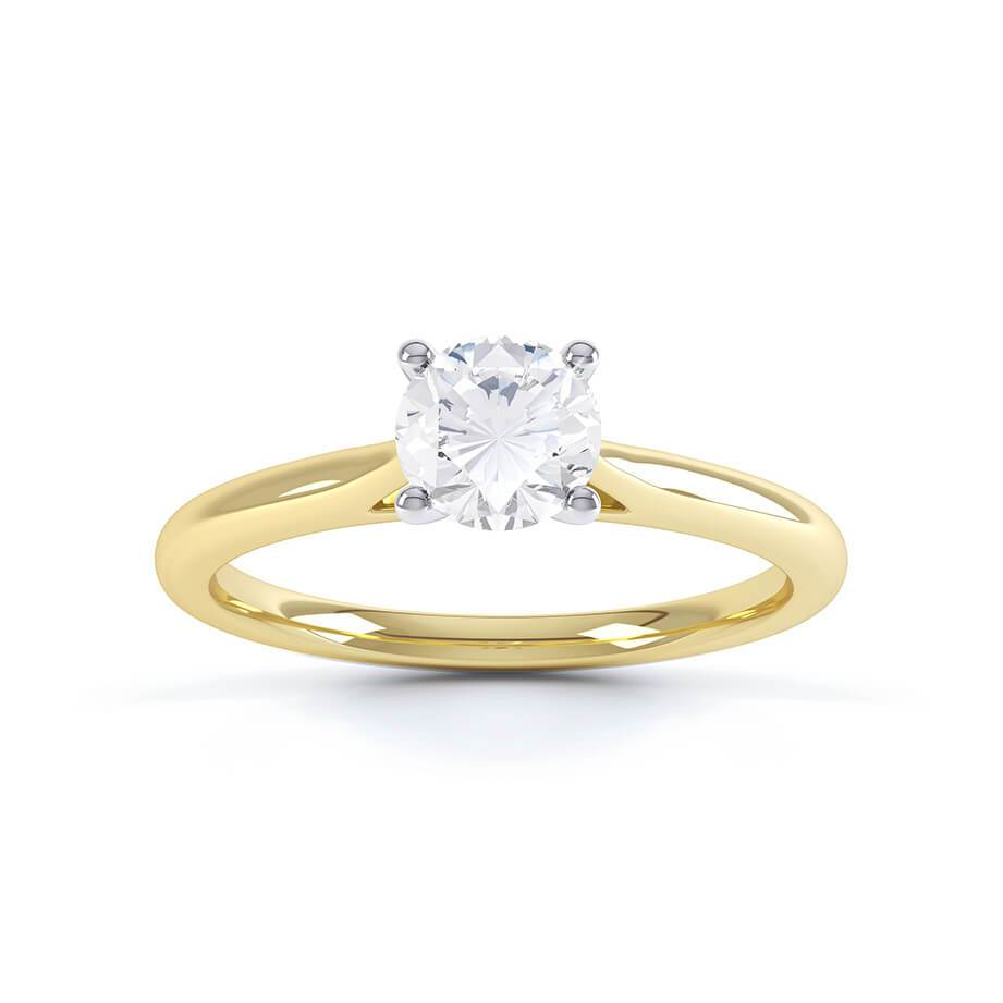 LAINARAE - Moissanite Solitaire 18k Two Tone Yellow Gold Ring