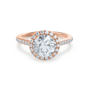Lavender Petite Halo Charles & Colvard Moissanite & Diamond 18k Rose Gold Ring