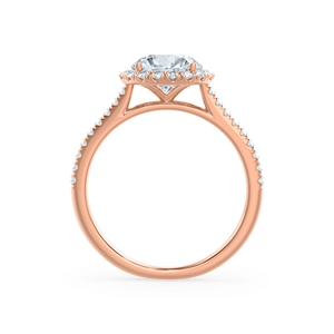 Lavender Petite Halo Moissanite & Diamond 18k Rose Gold Ring