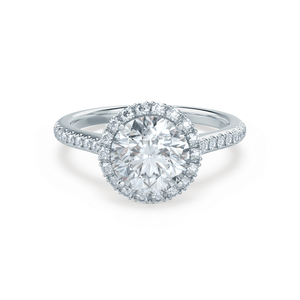 Lily Arkwright Engagement Ring LAVENDER - Petite Halo Moissanite & Diamond 18k White Gold Ring