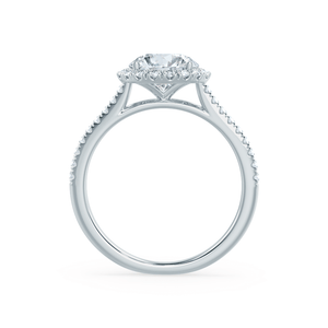 Lily Arkwright Engagement Ring LAVENDER -  Petite Halo Moissanite & Diamond Platinum Ring