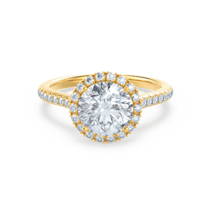 Lavender Petite Halo Charles & Colvard Moissanite and Diamond 18k Yellow Gold Ring