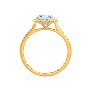 LAVENDER - Petite Halo Moissanite and Diamond 18k Yellow Gold Ring