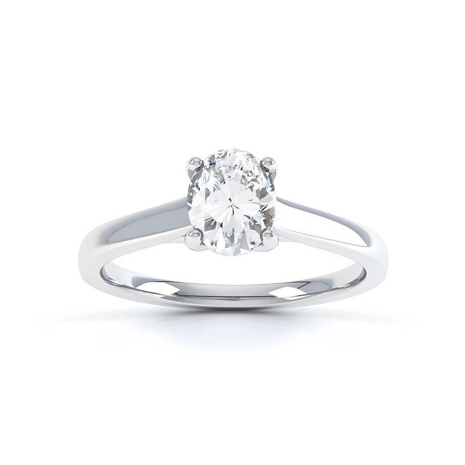 LAYLA - Charles & Colvard Moissanite Platinum Oval Solitaire Ring