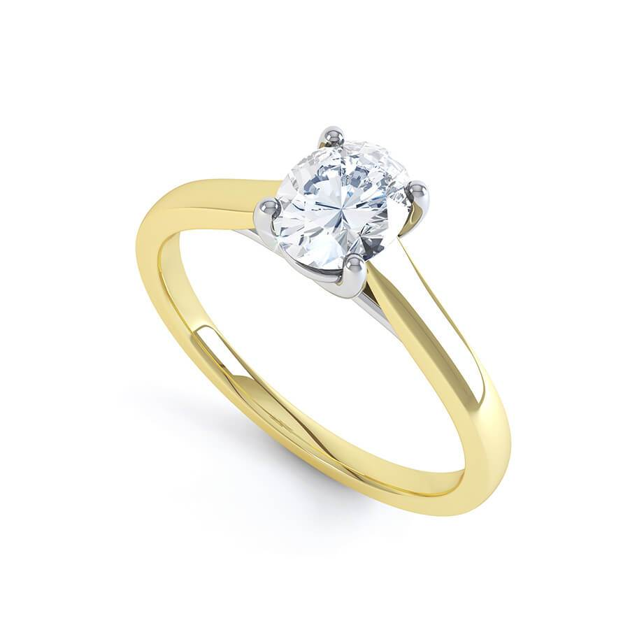 LAYLA - Charles & Colvard Moissanite 18K Two Toned Yellow Gold Oval Solitaire Ring
