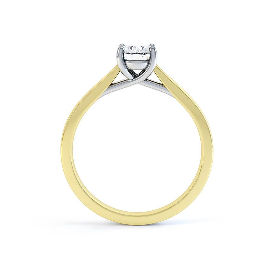LAYLA - Oval Moissanite 18K Two Toned Yellow Gold Solitaire Ring Engagement Ring Lily Arkwright