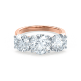Lily Arkwright Engagement Ring LEANORA - Moissanite 18k Two Tone Rose Gold Trilogy Ring
