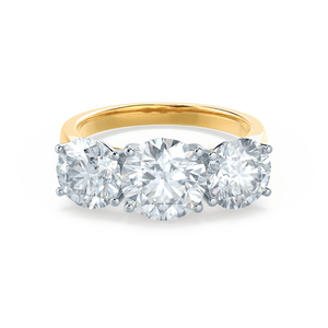 LEANORA - Moissanite 18k Two Tone Yellow Gold Trilogy Ring